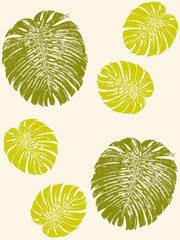 Fabric: Tropical Monstera leaves - vintage greens on ivory