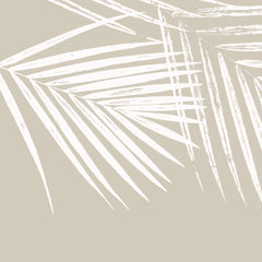 Fabric: Tropical Palm leaves - white on sand