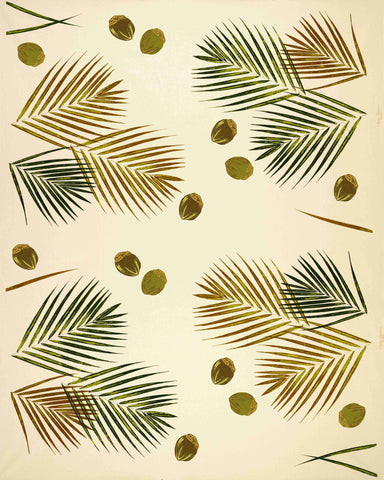 Painted Palms Print Fabric (Old Florida Greens and Browns)