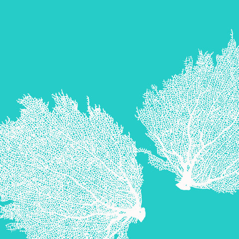 Fabric: Sea fans - white on turquoise