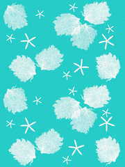 Fabric: Sea fans and Starfish - white on turquoise with sea stars