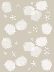 Fabric: Sea fans and Starfish - white on sand with sea stars