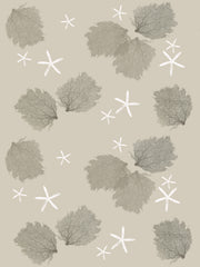 Fabric: Sea fans - stone and dark stone on sand with white starfish