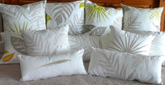 Tropical Botanical Fabric Handprinted Pillow Covers with tropical ferns, leaves and feathers in cool contemporary colors