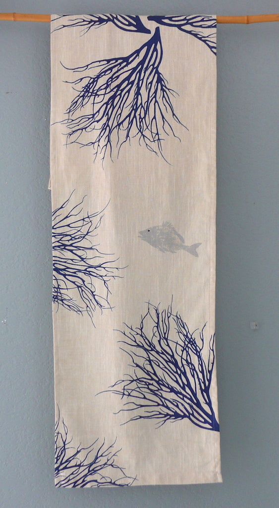 Handprinted Table Linens ~ Ocean Blue Coral with Fish