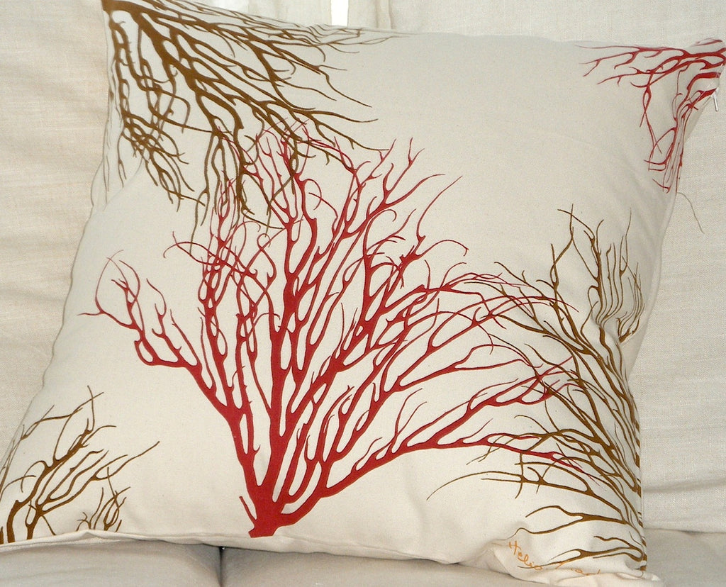 Red and Antique Brown Coral Pillow Cover