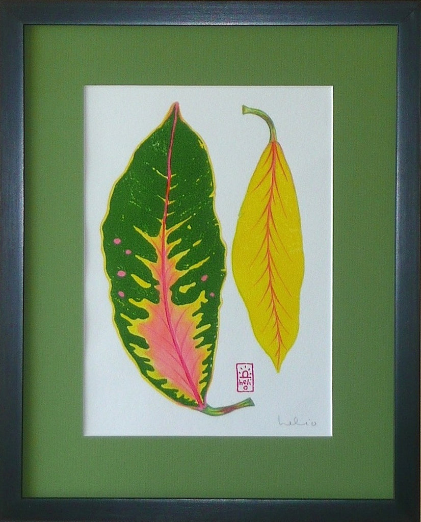 Croton Leaf Collage: 2 vertical leaves