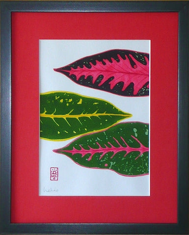 Croton Leaf Collage: 3 horizontal leaves