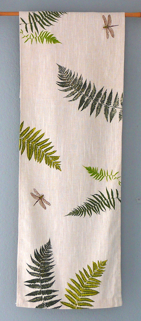 Handprinted Table Linens ~ Ferns and Dragonflies