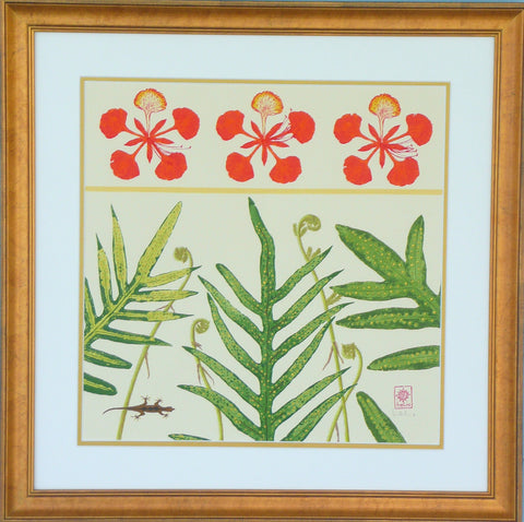 Poinciana Blossoms, Tropical Ferns and Fiddleheads