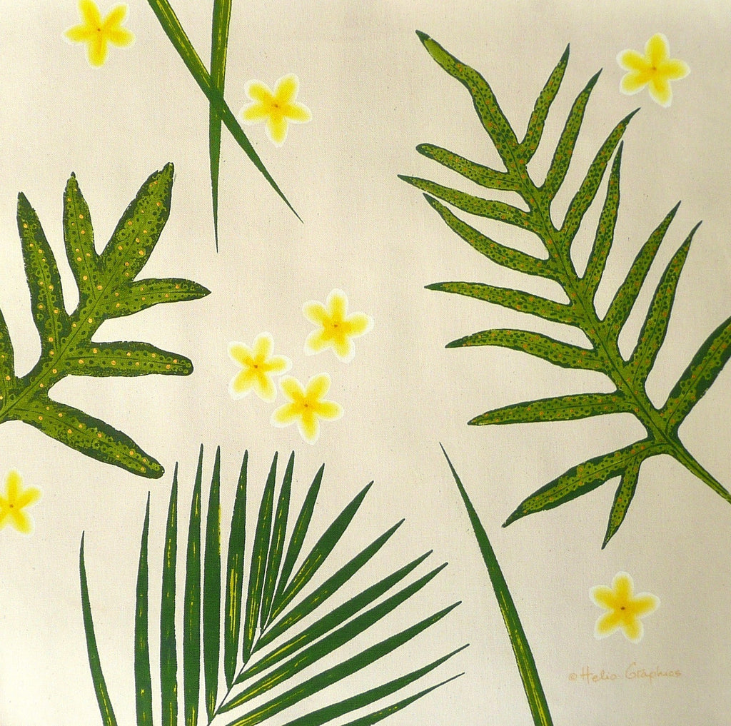 Frangipani (Plumeria) Fern and Palm Pillow Covers