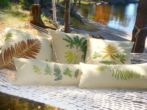 Adirondack inspired ~ Handmade Pillow Covers: Ferns, Lily pads, and Loons