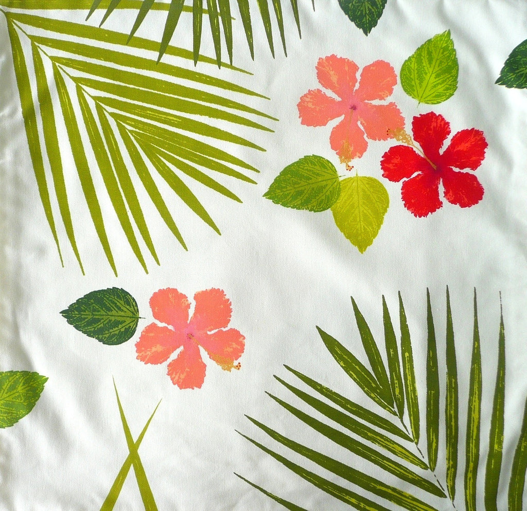 Red and Coral Hibiscus Blossoms with Palms Pillow Cover