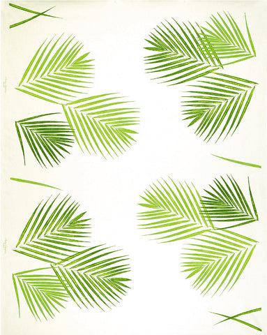 Painted Palm Leaf Print Fabric (Tropical Greens)