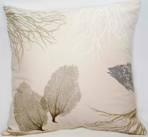 Coral, Sea Fans, and Silver Fish Pillow