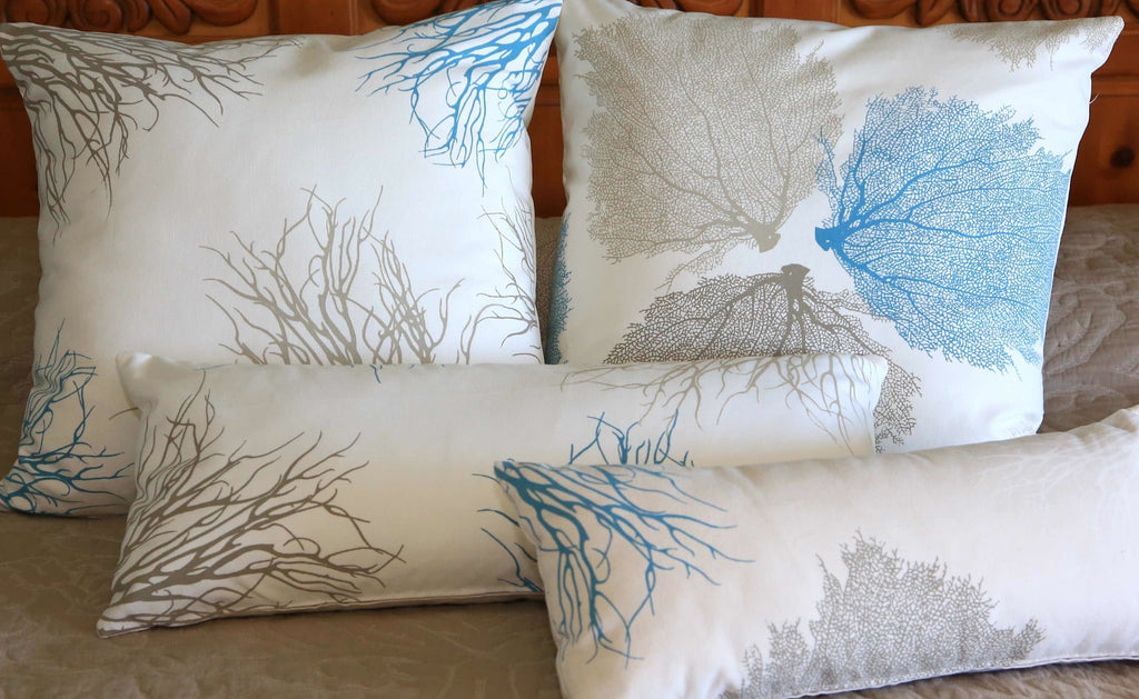 Coral and Sea Fan Pillow Covers with Antique Blue