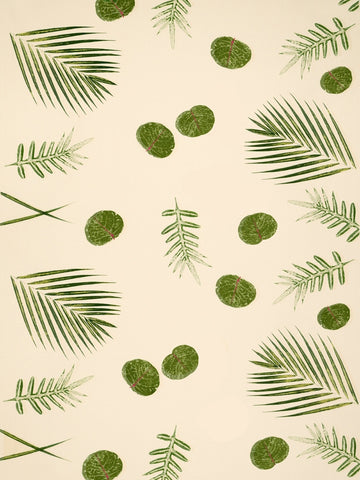 Sea grape, Palm and Fern Hand Printed Fabric