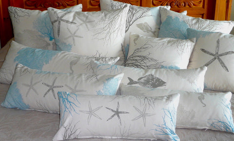 Coastal Corals: Handmade Pillow Covers in seaside sand, stone and beach house blue