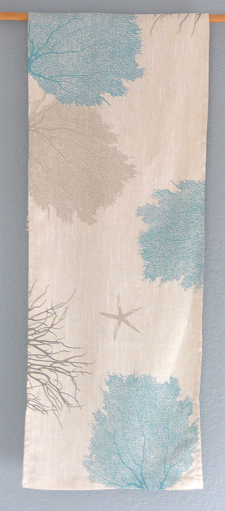 Antique Blue Sea fans ~ Linen Table Runner