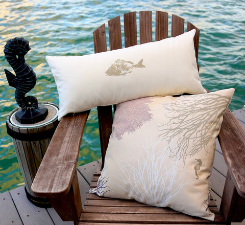 Coastal Corals: Handmade Pillow Covers in seaside sand, stone, and antique purple