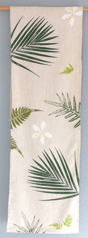 White Orchids, Palms and Ferns ~ Linen Table Runner