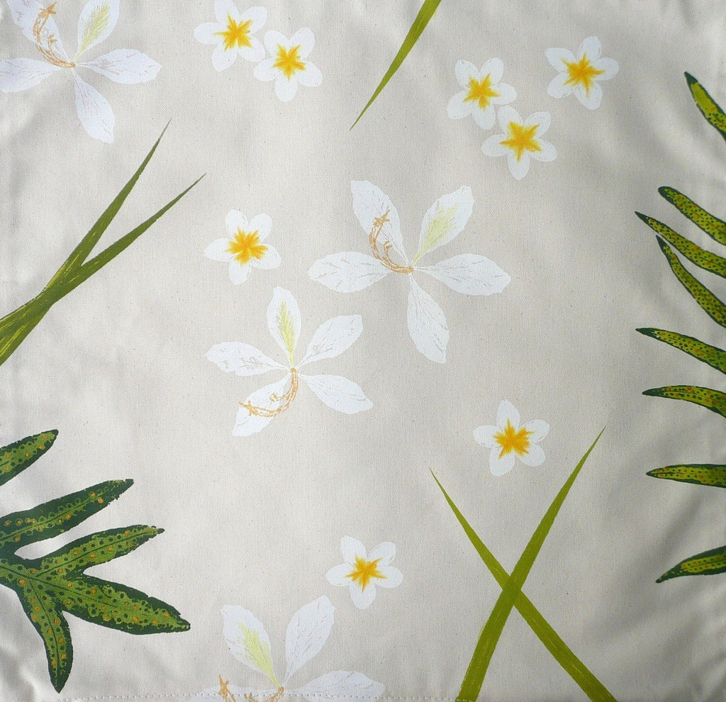 White Orchids and Frangipanis Tropical Ferns Pillow Cover
