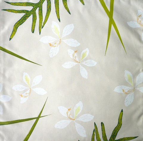 White Orchids and Tropical Ferns Pillow Cover