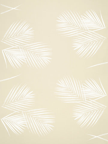 White Palm Leaf Print Fabric
