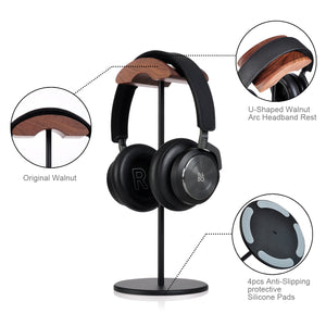 Jokitech Aluminum Black Walnut Wood Headphone Stand Rack