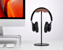 Load image into Gallery viewer, Jokitech Aluminum Black Walnut Wood Headphone Stand Rack
