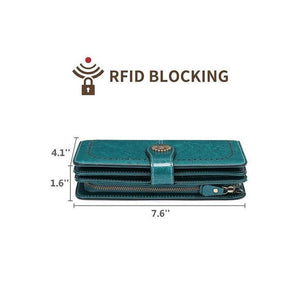 Large capacity leather wallet with RFID protection