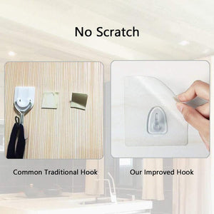 Adhesive Heavy Duty Plastic Wall Hooks - Strong Sticky Removable Ceiling Hook For Walls