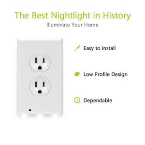Outlet Wall Plate With LED Night Lights - Lighted Outlet Cover