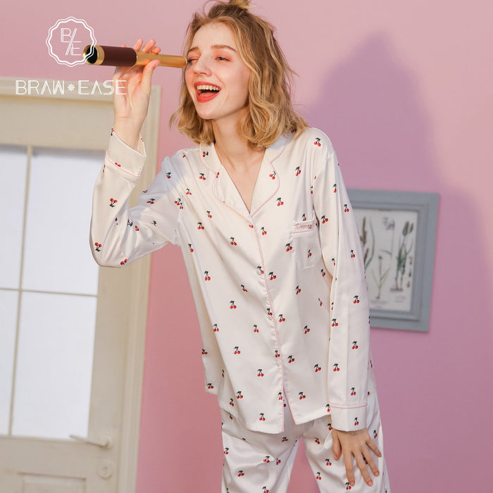 Womens Cherry Satin Button Up Long Sleeve Pajama Set with Eye Mask
