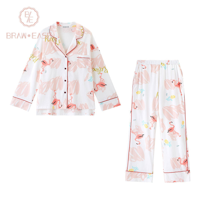 Womens Flamingo Cotton Pajama Set with 3 Styles