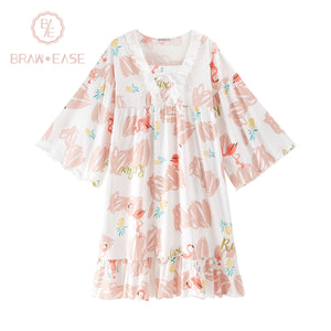 BrawEase Womens Flamingo Cotton Nightgown