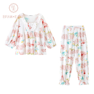 BrawEase Womens Flamingo Cotton Short Sleeve Pajama Set