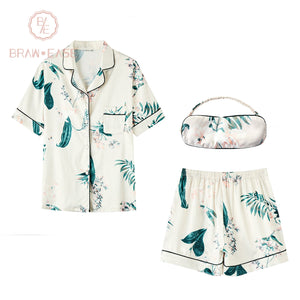 BrawEase Womens Ink Painting Satin Button Up Short Sleeve Pajama Set with Eye Mask