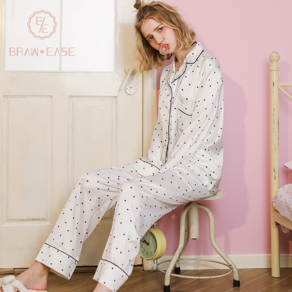 BrawEase Womens Little Heart Satin Button Up Long Sleeve Pajama Set with Eye Mask