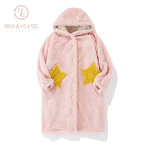 BrawEase Pink Womens Pentagram Flannel Night Robe