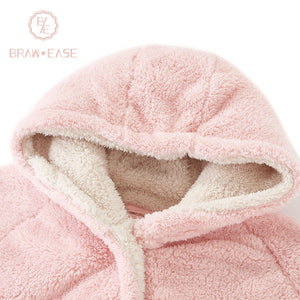 BrawEase Pink Womens Pentagram Flannel Night Robe Detail