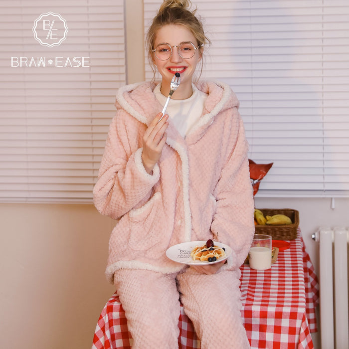 Womens Rabbit Ears Flannel Button Up Hooded Pajama Set