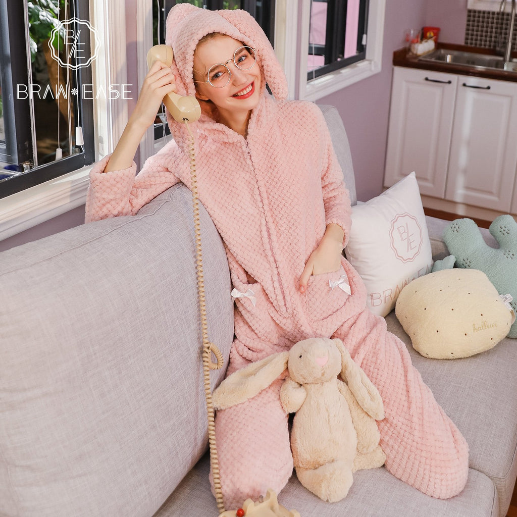 BrawEase Womens Rabbit Ears Flannel Zip Front Hooded Pajama Set