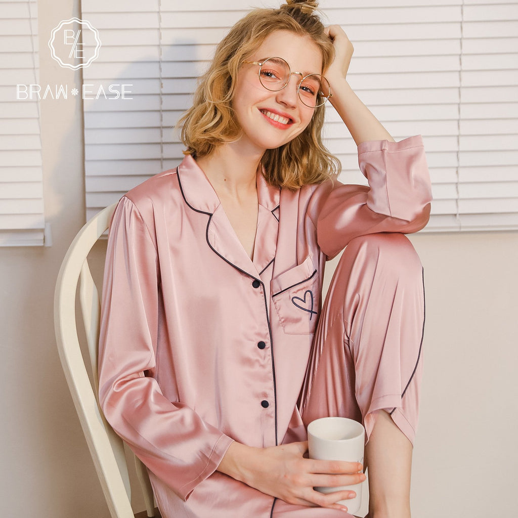 BrawEase Womens Satin Button Up Long Sleeve Pajama Set