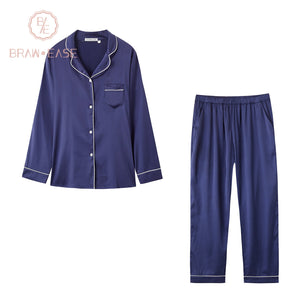 BrawEase Blue Womens Satin Button Up Long Sleeve Pajama Set