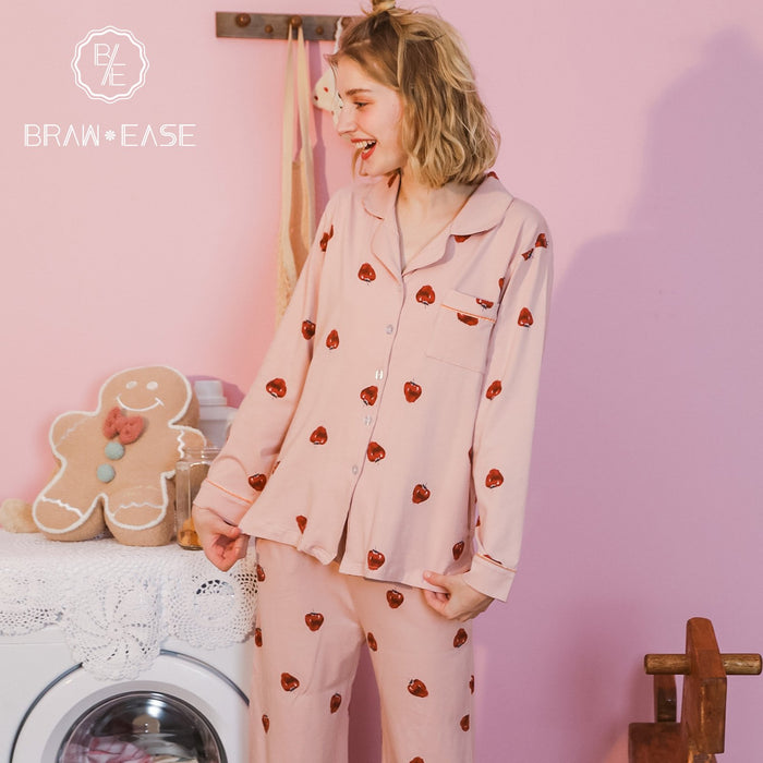 Womens Strawberry Cotton Button Up Long Sleeve Pajama Set