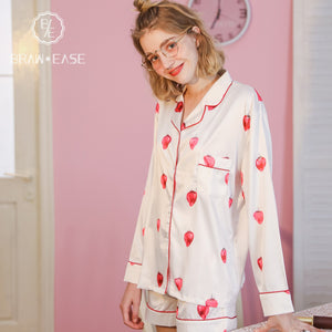BrawEase Womens Strawberry Satin Button Up Long Sleeve Short Pajama Set