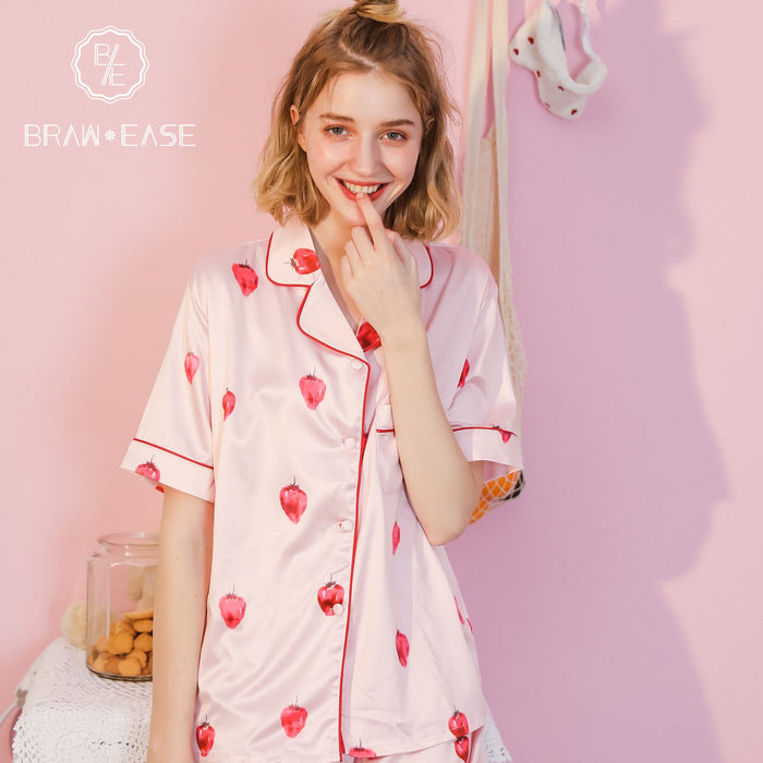 Womens Strawberry Satin Button Up Short Sleeve Pajama Set with Eye Mask