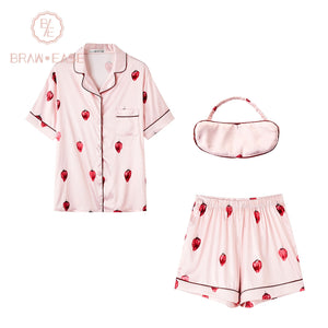 BrawEase Pink Womens Strawberry Satin Button Up Short Sleeve Pajama Set with Eye Mask