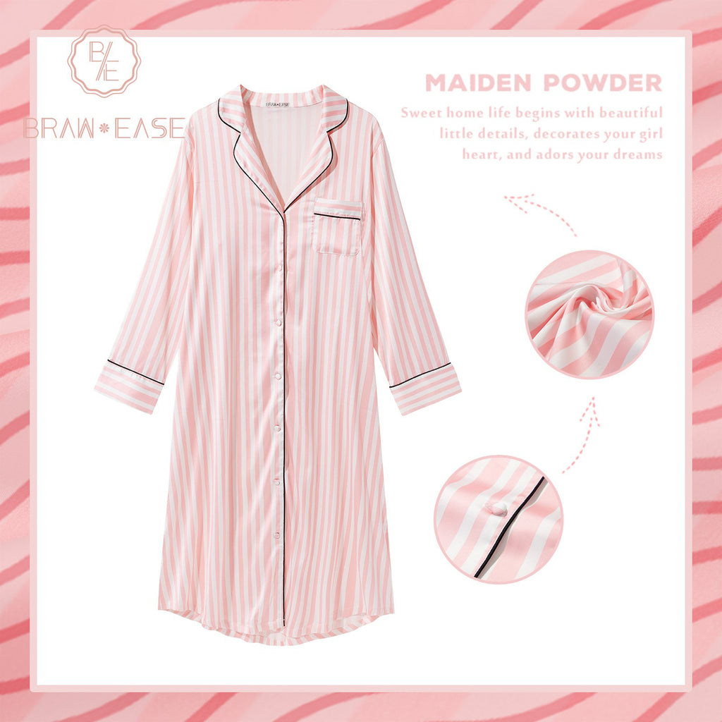 BrawEase Womens Stripe Satin Button Up Long Sleeve Nightgown